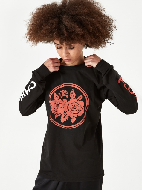Chinatown Flowers Longsleeve T-shirt - Black