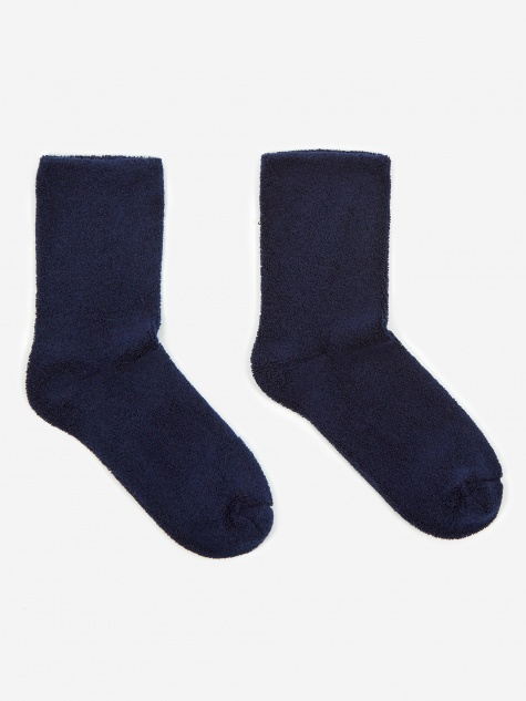 Buckle Over Ankle Sock - Navy Blue