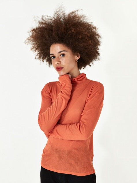 Puig Turtle Neck Mesh Top - Burnt Orange