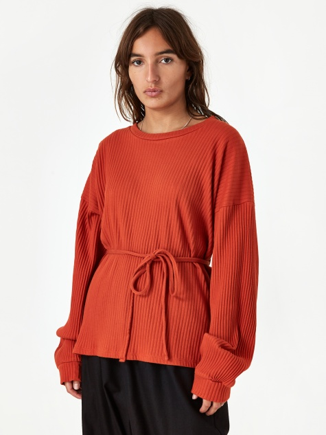 Shaw Longsleeve Top Rib Fleece - Opia Orange