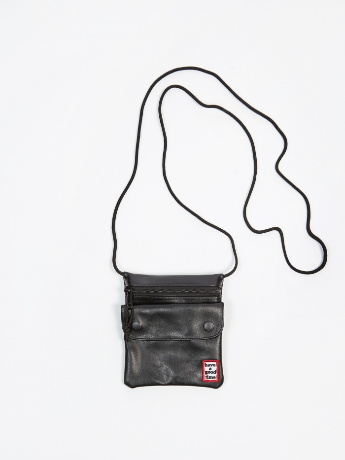 Have A Good Time Frame Leather Shoulder Bag - Black (Image 1)