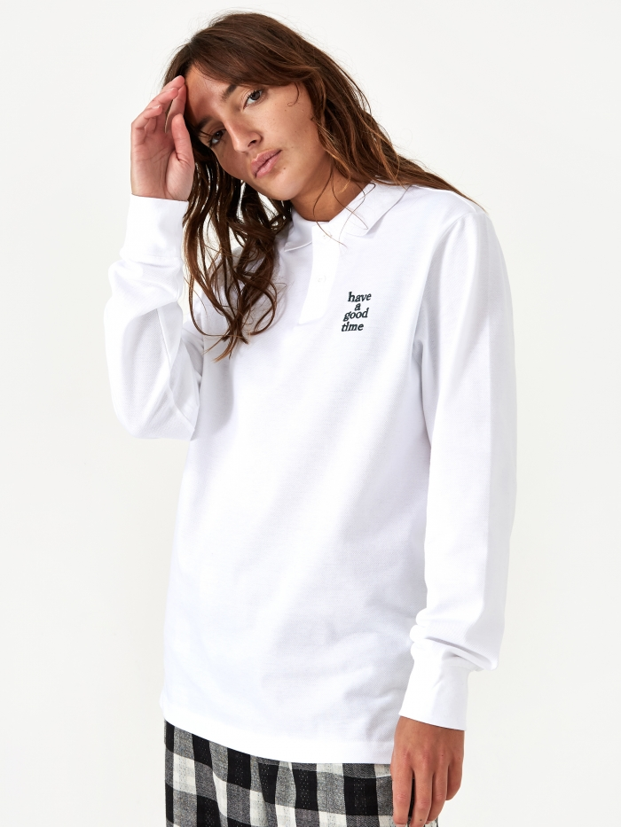Have A Good Time Logo Longsleeve Polo Shirt - White (Image 1)