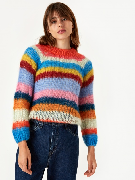 Mohair Basic Stripe Sweater - Multi