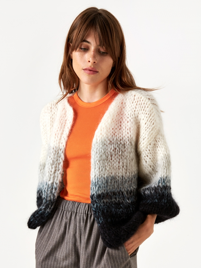 Maiami Mohair Big Cardigan - Black/Cream/Melange (Image 1)