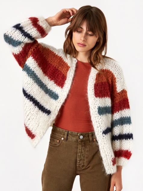 Mohair Big Stripe Cardigan - Cream/Copper