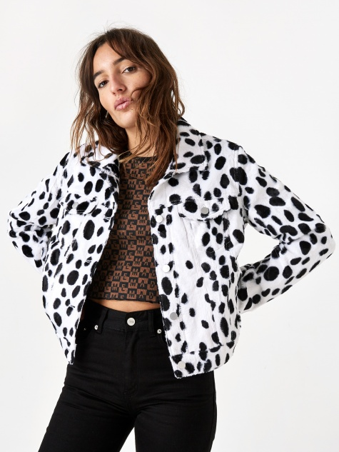 Dalmation Faux Fur Trucker Jacket - White