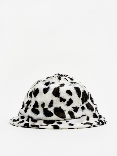 Dalmation Faux Fur Bucket Hat - White