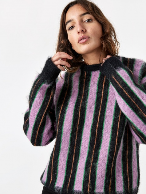 Vertical Striped Mohair Sweater - Black