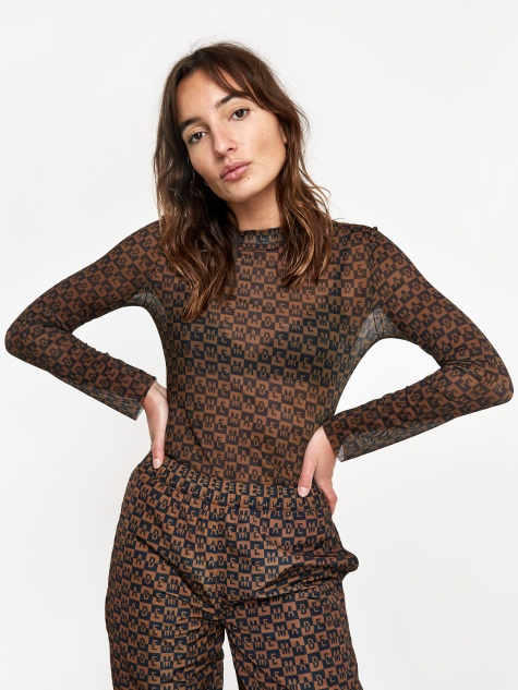 Checkered Logo Mesh Longsleeve Top - Brown