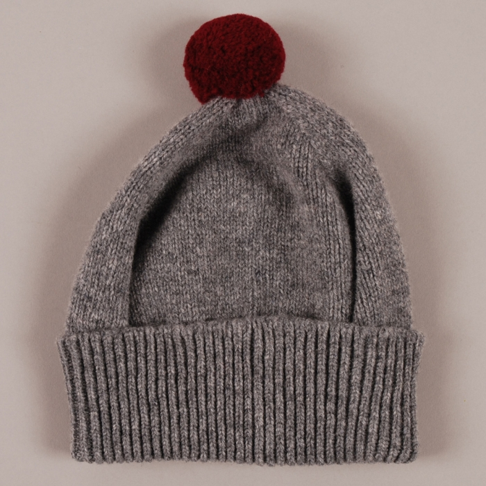 YMC Bobble Hat - Grey/Burgunady (Image 1)
