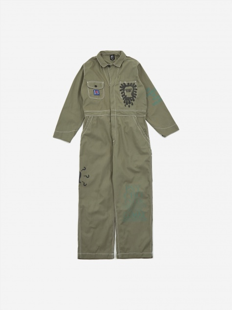 Printed Mechanics Overalls - Olive Green