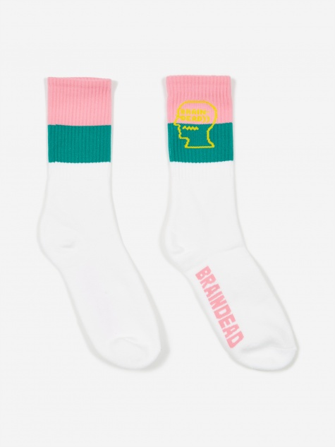 Striped Logo Sock - White/Turquoise/Pink