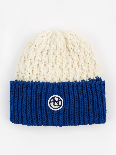 Beanie - Off White/Blue