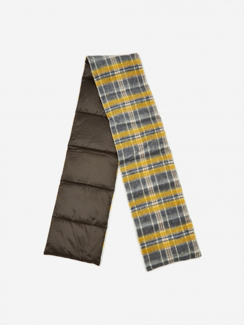 Wool Check Down Muffler - Yellow