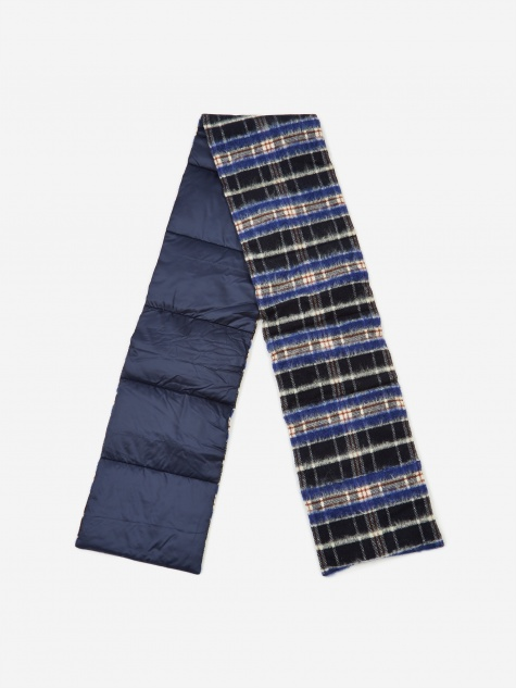 Wool Check Down Muffler - Navy