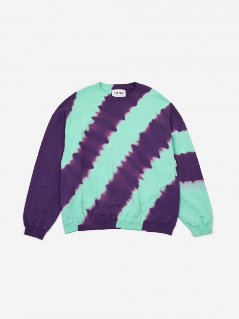 Tie Dye Twisted Sweatshirt - Turquoise/Purple