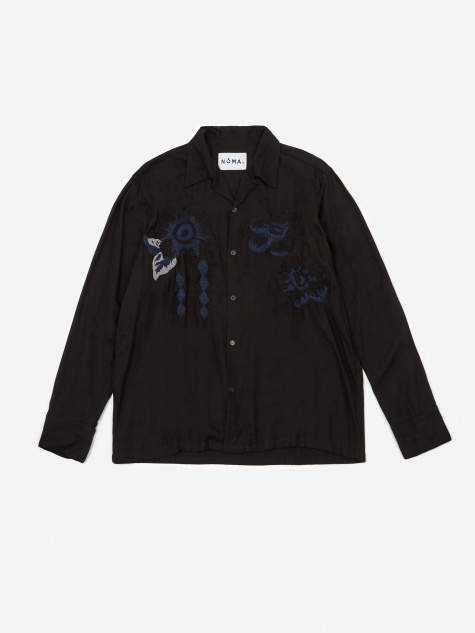 Flower Embroidered Shirt - Black
