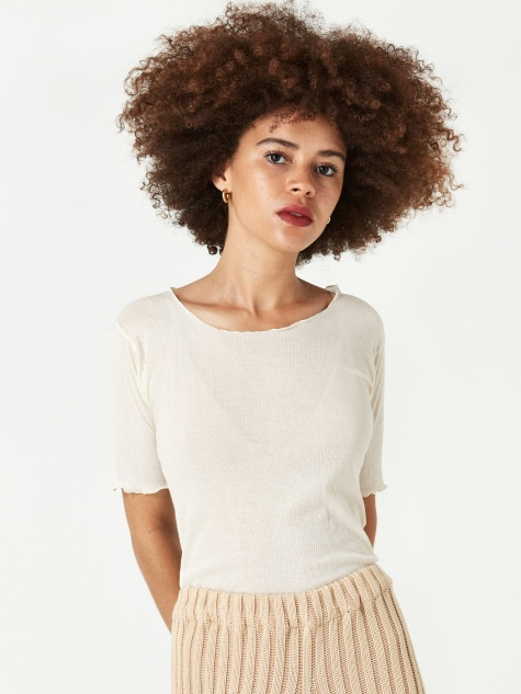 Pama 3/4 Rib Top - Off White