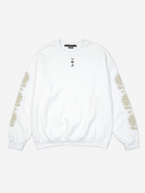 Oriental Fan Print Sweatshirt - White