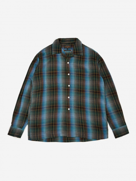 Open Collar Obre Check Shirt - Blue