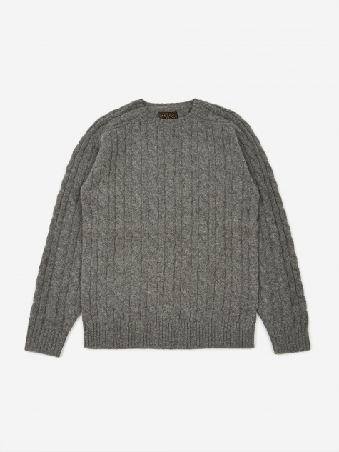 5G Cable Knit Crew Neck Jumper - Grey