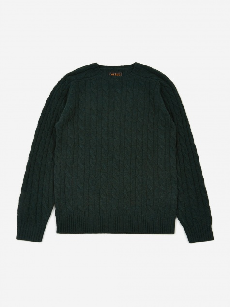5G Cable Knit Crew Neck Jumper - Green