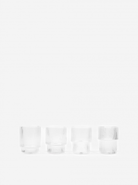 Ripple Short Drink Glass - Set of 4 - Clear