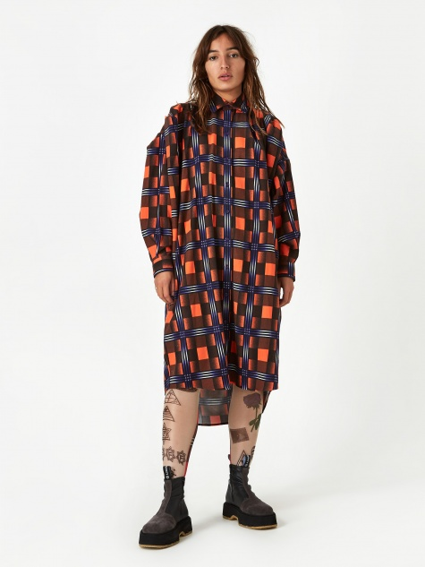 Checked Shirt Dress - Orange