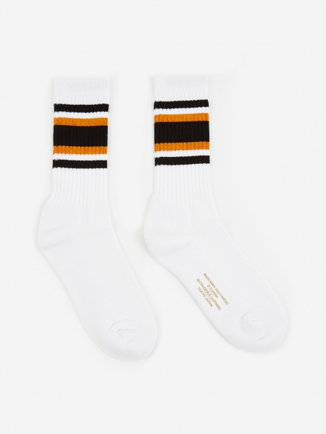 Skater Socks (Type-2) - White/Orange