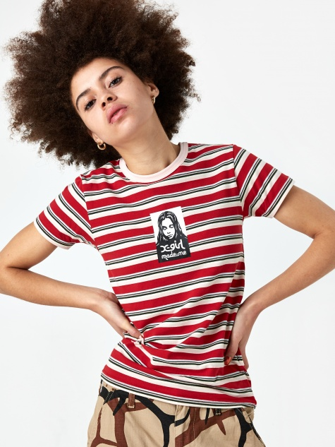 x X-Girl Baby T-Shirt - Red Stripe