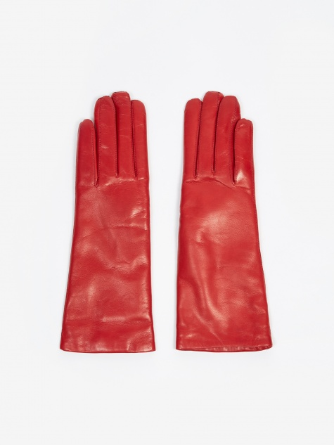 Leather Pique Cashmere Glove - Red