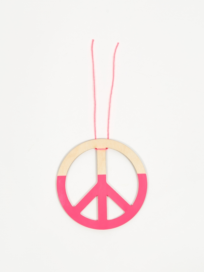 The Great Lakes Goods Peace Ornament - Neon Pink (Image 1)