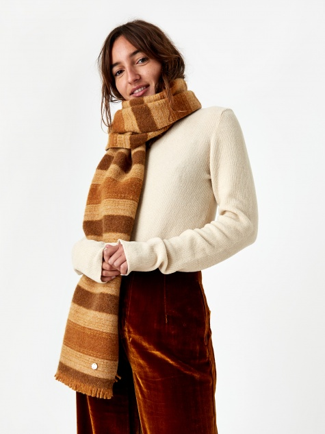 Wool Scarf - Brown Stripe