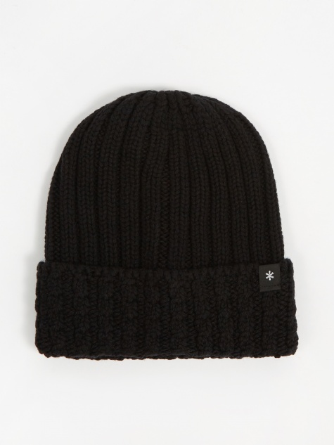Washable Wool Knitted Cap - Black