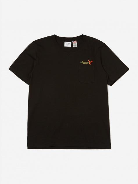 Oversized Crew Neck Pocket T-Shirt (Type 2) - Black