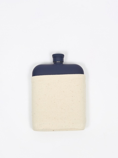 6oz Hip Flask With Canvas Carrier - Blue