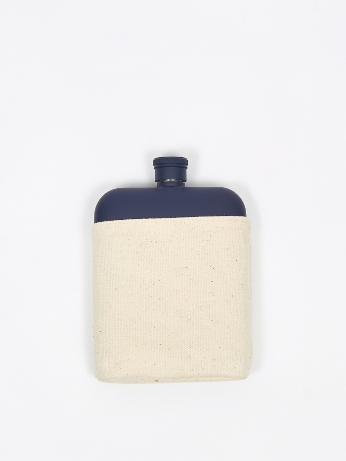 Izola 6oz Hip Flask With Canvas Carrier - Blue (Image 1)