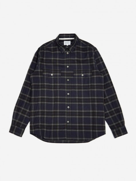 Villads Brushed Flannel Check Shirt - Dark Navy C