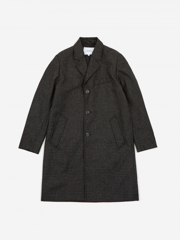 Norse Projects Arland Overdyed Wool Coat - Slate Grey (Image 1)