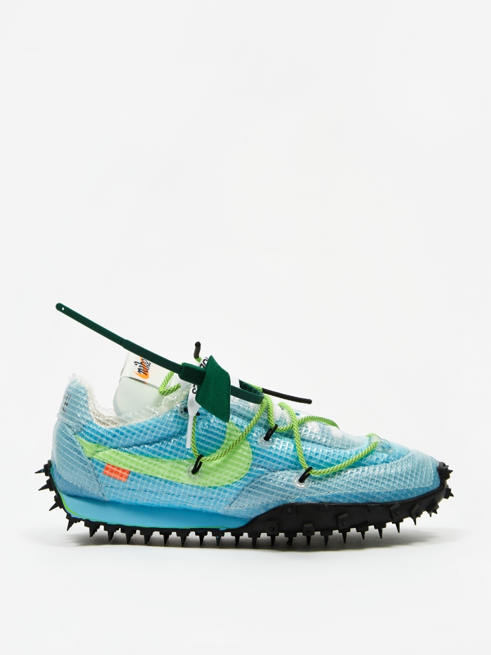 Nike Waffle Racer Off White - Vivid Sky/Electric Green/Black (Image 1)