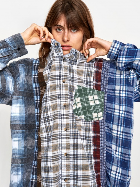 Wide 7 Cuts Flannel Shirt One Size 2 - Assorted