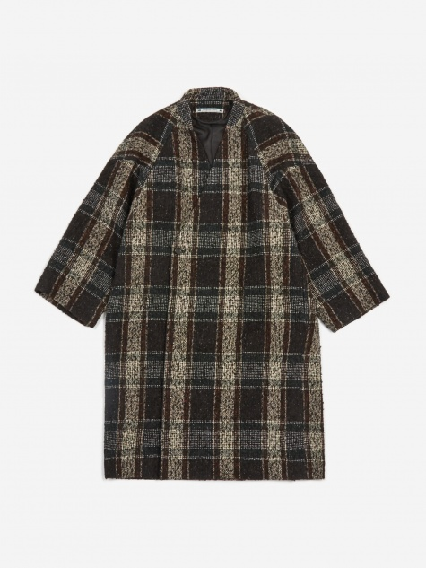 Sasquatchfabrix Tweed Oriental Wrap Coat - Black/Beige Check