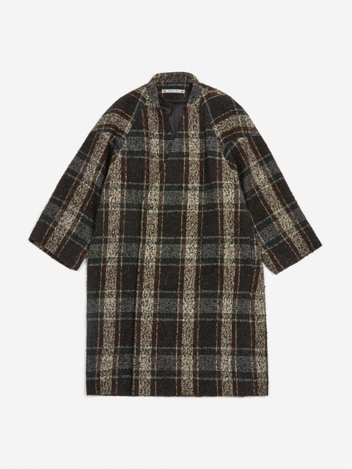Sasquatchfabrix. Sasquatchfabrix Tweed Oriental Wrap Coat - Black/Beige Check (Image 1)