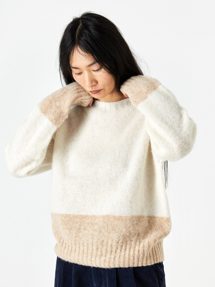 YMC Renegade Crew Neck Jumper - Ecru/Tan (Image 1)