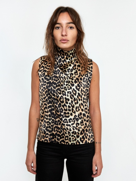 Silk Stretch Satin Top - Leopard