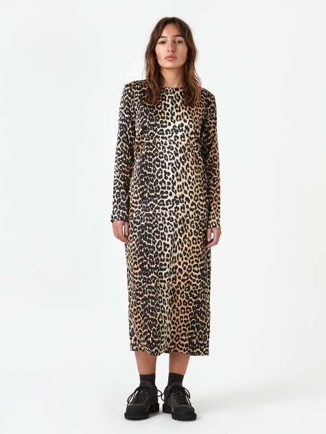 Silk Stretch Satin Longsleeve Dress - Leopard