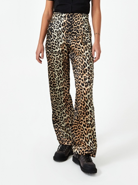 Silk Stretch Satin Trouser - Leopard