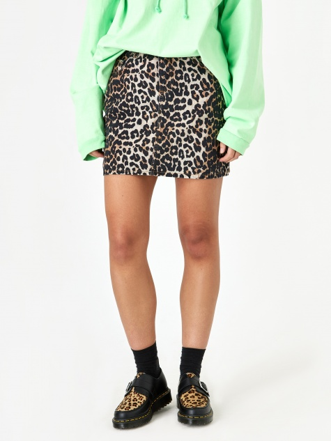 Print Denim Skirt - Leopard