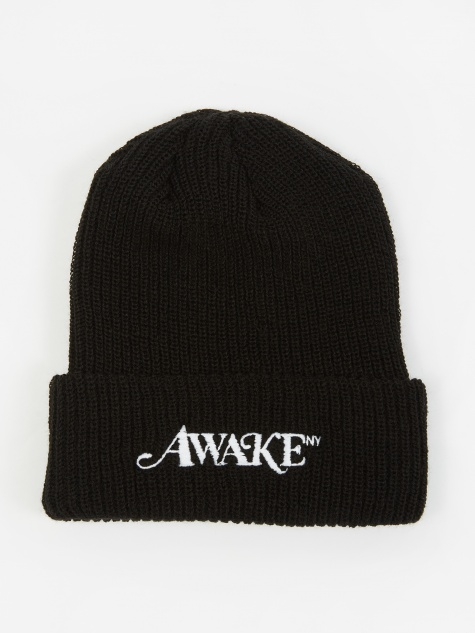 Logo Embroidered Loose Guage Beanie Hat - Black