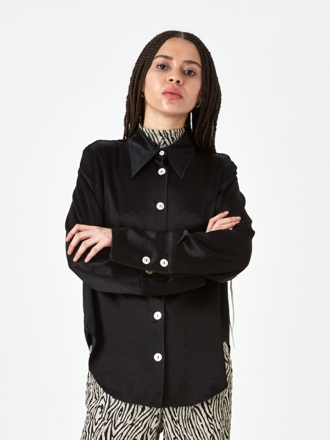 Mandine Washed Satin Shirt - Black